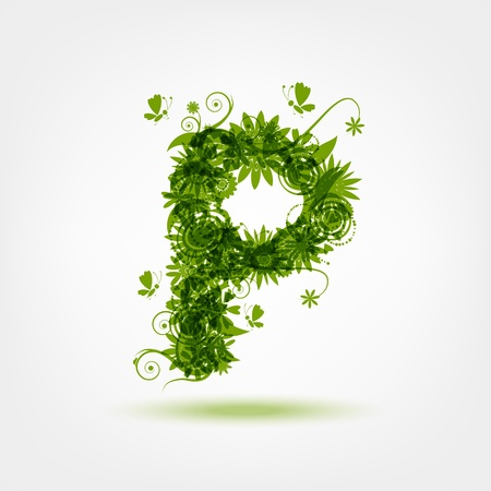 Green eco letter P for your design