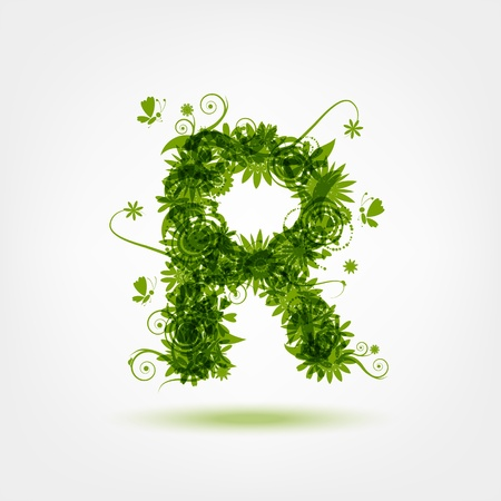 letter r: Green eco letter R for your design