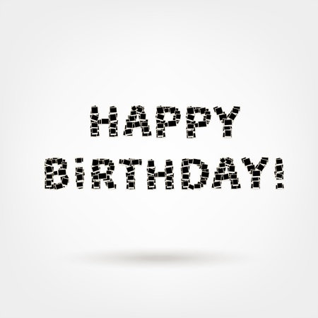 Happy birthday! text made from photo frames, insert your photos Vector