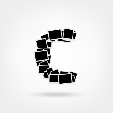 Letter C made from photo frames, insert your photos Stock Vector - 21693882