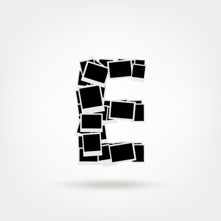 Letter E made from photo frames, insert your photos Stock Vector - 21693884