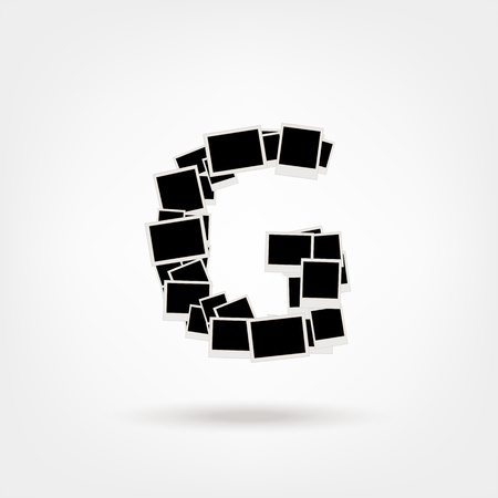 Letter G made from photo frames, insert your photos Stock Vector - 21693887