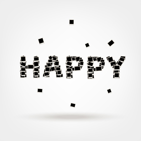 Happy, word made from photo frames, insert your photos Vector