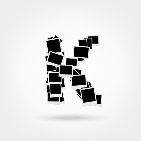 Letter K made from photo frames, insert your photos Vector