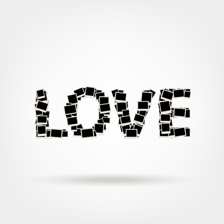 Love, word made from photo frames, insert your photos Vector