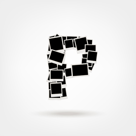 Letter P made from photo frames, insert your photos