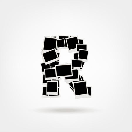 Letra R hecha de marcos de fotos, insertar las fotos Foto de archivo - 21693908
