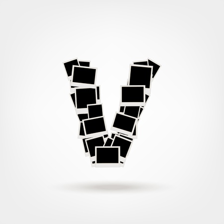 Letter V made from photo frames, insert your photos Vector