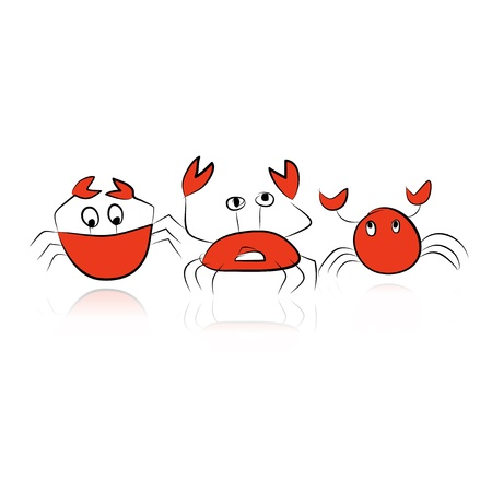 Set of funny crabs for your design Vector
