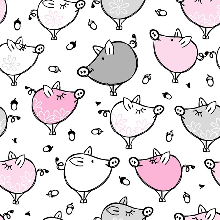 Funny pigs family, seamless pattern for your design Vector