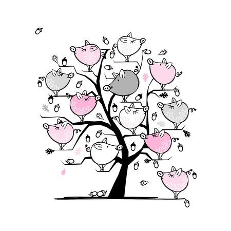 あなたのデザインのための木に面白い豚ファミリー