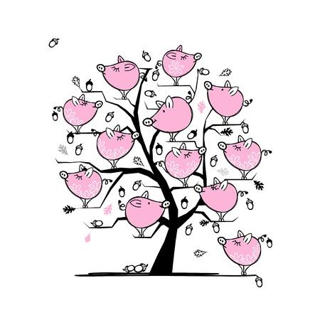 Familia cerdos divertido en el árbol para su diseño Foto de archivo - 21693955