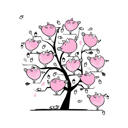 Funny pigs family on tree for your design Vector