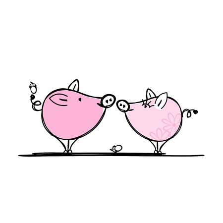Couple of funny pigs for your design Illustration
