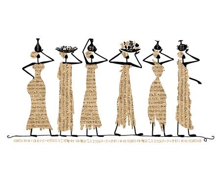 あなたの設計の水差しを持つエジプト女性のスケッチ  イラスト・ベクター素材