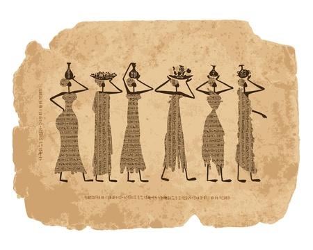 ancient papyrus: Sketch of egypt women with jugs for your design