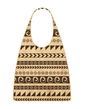 Paper shopping bag with ethnic ornament for your design Vector