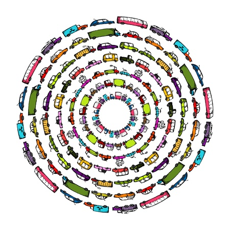 round: Cars collection frame for your design