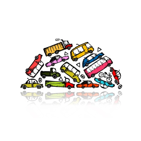 Pile of different cars Vector