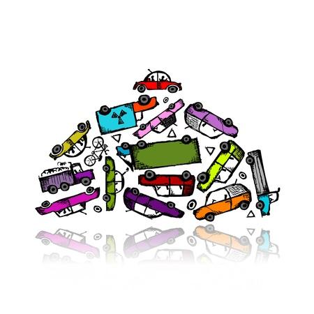 hazardous waste: Pile di auto diverse