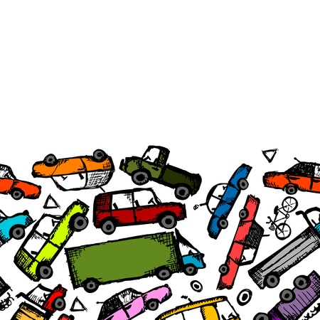 Toy cars collection, seamless pattern  Stock Vector - 21986146