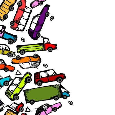 carritos de juguete: Colección de coches de juguete, sin patrón Vectores
