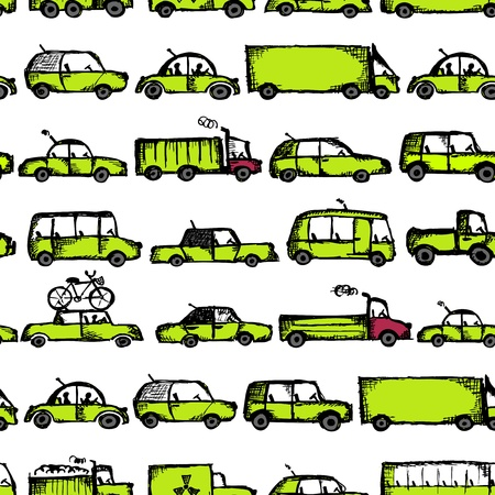 Toy cars collection, seamless pattern Stock Vector - 21986145