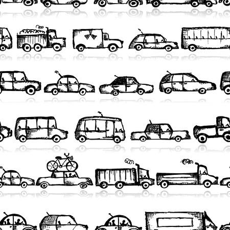 Toy cars collection, seamless pattern Stock Vector - 21986147