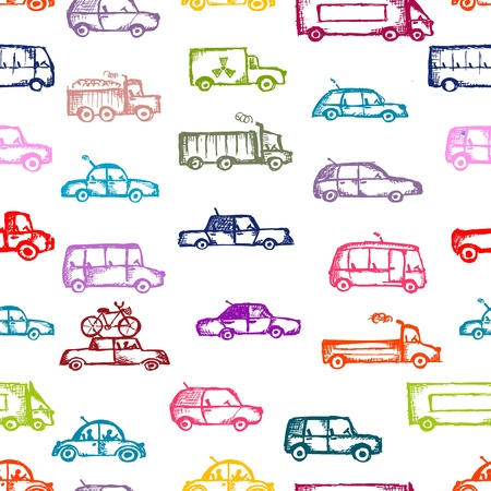 Toy cars collection, seamless pattern
