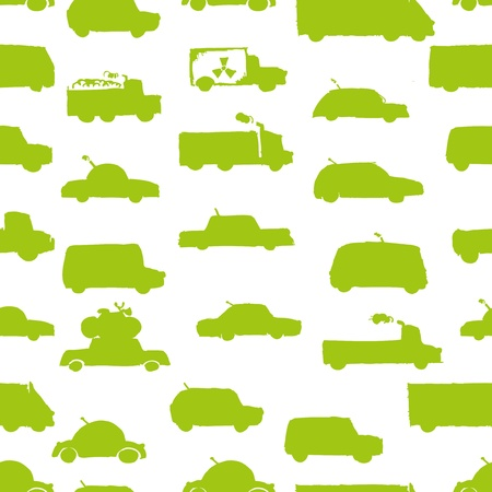 fuel truck: Toy cars collection, seamless pattern   Illustration