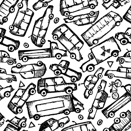 Toy cars collection, seamless pattern   Illustration