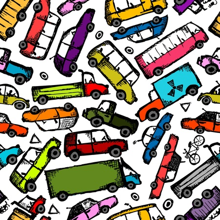Toy cars collection, seamless pattern   Stock Vector - 21986152