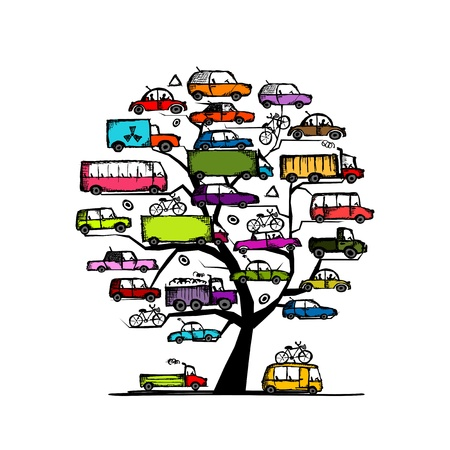 minivan: Tree with cars, transportation concept