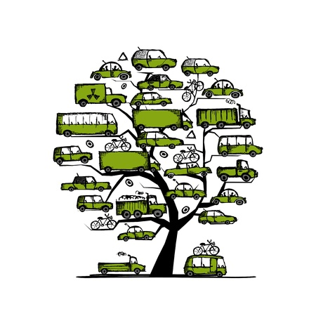minivan: Tree with green cars, transportation concept Illustration