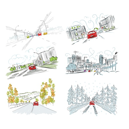 Cars on city road, set of hand drawn illustrations