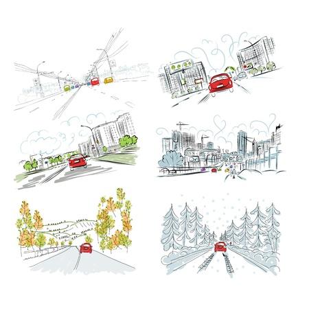 arbol de la vida: Coches en la carretera de la ciudad, conjunto de dibujado a mano ilustraciones