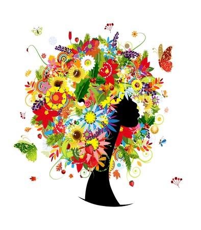 Vrouw het hoofd ontwerp, vier seizoenen kapsel met blad en bloemen
