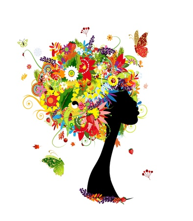 Woman head design, four seasons hairstyle with leaf and flowers Vector