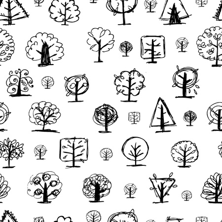 Seamless pattern, doodle trees  Vector