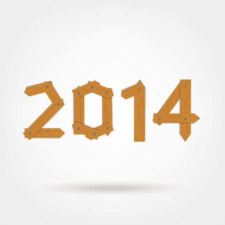 Happy new year 2014 made from wooden boards  Vector