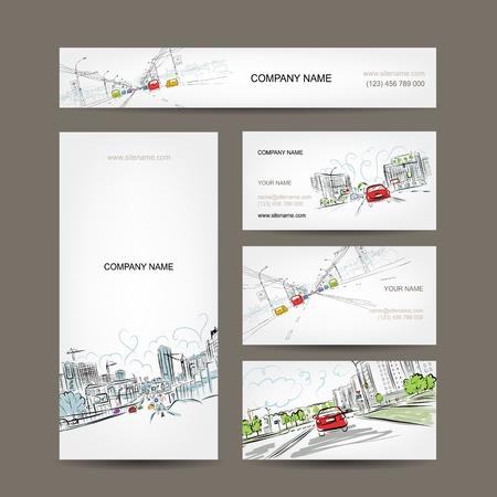 비즈니스 카드 컬렉션, 디자인을위한 도시 도로에 자동차 일러스트