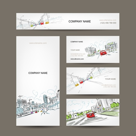 automobiles: Business cards collection, cars on city road for your design