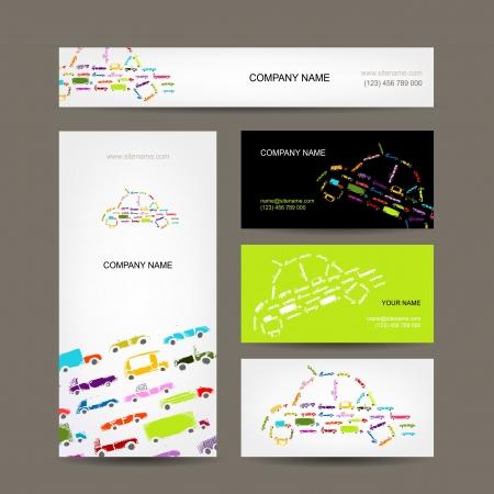 motor de carro: Tarjetas de visita de recogida de coches con el bosquejo para su diseño