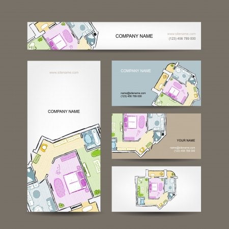 interior design kitchen: Sketch of apartment. Business cards for your design. Illustration