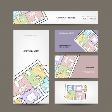 Sketch of apartment. Business cards for your design. Stock Vector - 21997487