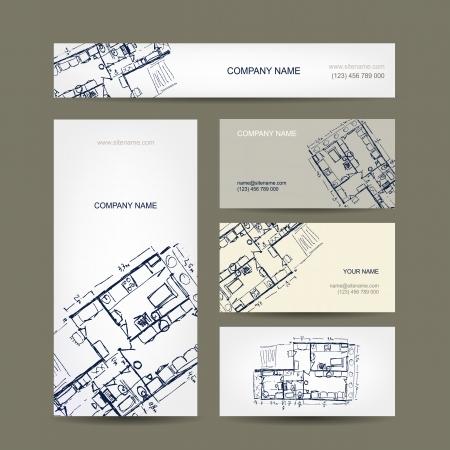 arquitecto: Bosquejo de apartamento. Tarjetas de visita para su diseño. Vectores