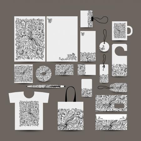 Corporate business style design: folder, bag, label, mug, cards, tshort, pen, envelope Vector