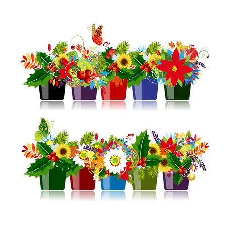 あなたのデザインの分離された花のポットのセット  イラスト・ベクター素材