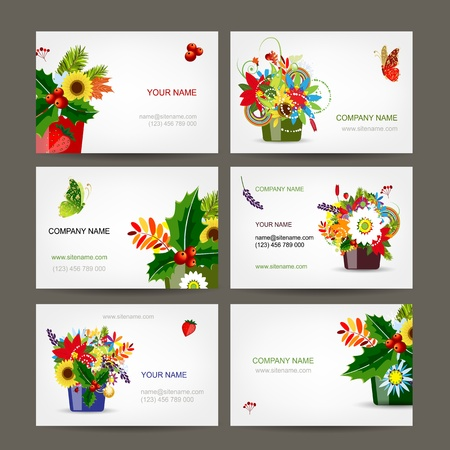Postcard collection with floral pots for your design Illustration
