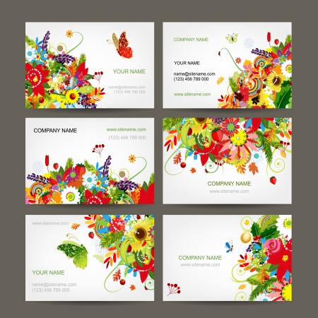 Postcard collection with floral bouquet for your design Vector
